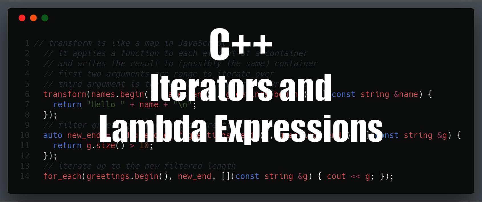C++ Guide for EOS Development - Iterators & Lambda Expressions | cmichel
