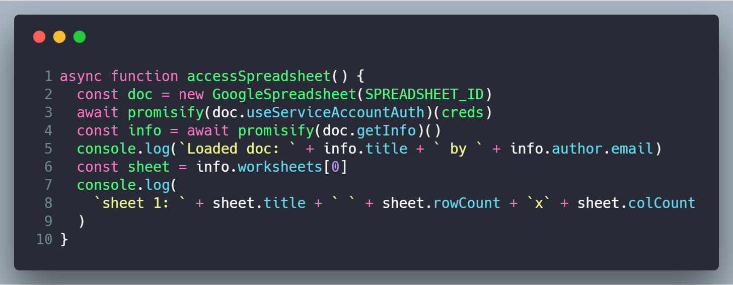 How to access Google Spreadsheets with Node | cmichel